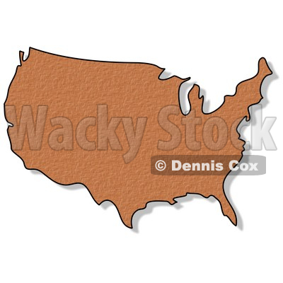 Royalty-Free (RF) Clipart Illustration of a Brown Weave Textured USA Map © Dennis Cox #62957