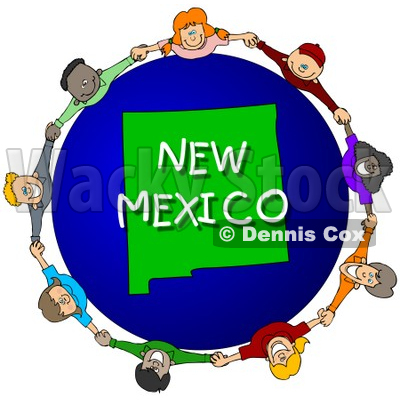 Royalty-Free (RF) Clipart Illustration of Children Holding Hands In A Circle Around A New Mexico Globe © djart #62964