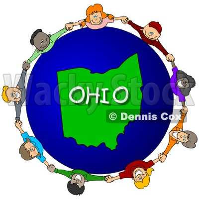 Royalty-Free (RF) Clipart Illustration of Children Holding Hands In A Circle Around An Ohio Globe © djart #62967