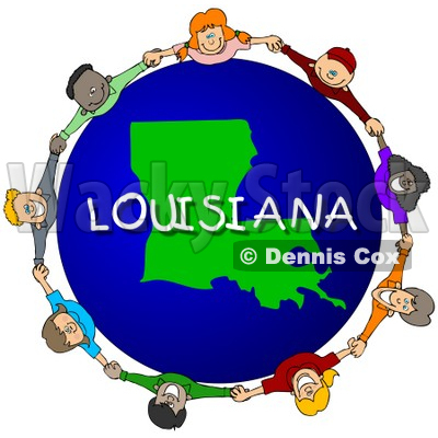 Royalty-Free (RF) Clipart Illustration of Children Holding Hands In A Circle Around A Louisiana Globe © djart #62969