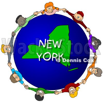 Royalty-Free (RF) Clipart Illustration of Children Holding Hands In A Circle Around A New York Globe © djart #62970