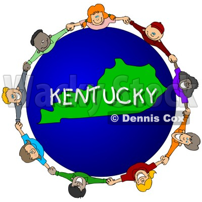 Royalty-Free (RF) Clipart Illustration of Children Holding Hands In A Circle Around A Kentucky Globe © djart #62976