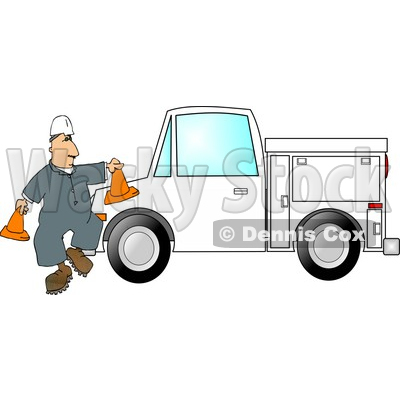 Worker Putting Out Cones Around His Utility Truck Clipart Picture © djart #6306