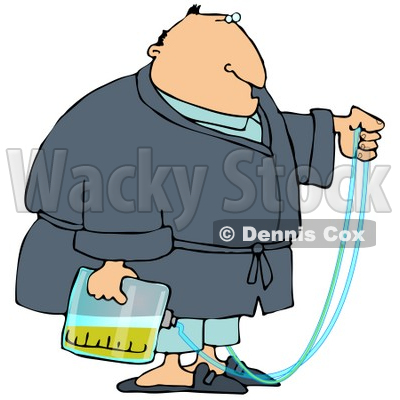 Obese Man with a Medical Condition that Requires the use of a Catheter and Urine Bag Clipart Picture © djart #6309
