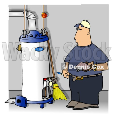 Local Water Heater Repairman Taking Notes Clipart Illustration © djart #6318