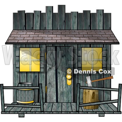 Clipart Of An Old Creepy Wood Shed or Western Saloon Building - Royalty Free Illustration © djart #6335