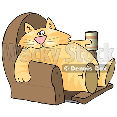 Funny Human-like Cat Sitting On a Recliner Chair with a Can of Beer Clipart Picture © djart #6336