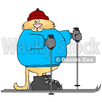 Human-like Cat Cross-country Skiing Clipart Picture © djart #6338