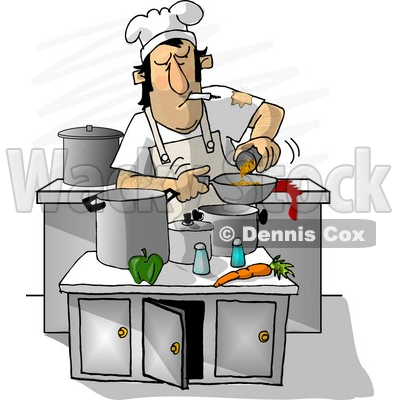 Dirty Chef Smoking While Cooking in a Kitchen Clipart Illustration © djart #6679