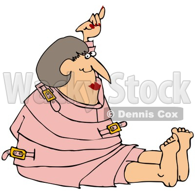 Royalty-Free (RF) Clipart Illustration of a Lady Restrained In A Pink Straitjacket © djart #67126