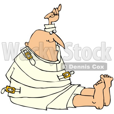 Royalty-Free (RF) Clipart Illustration of a Bald Man Holding Up One Arm While Restrained In A Straitjacket © djart #67129