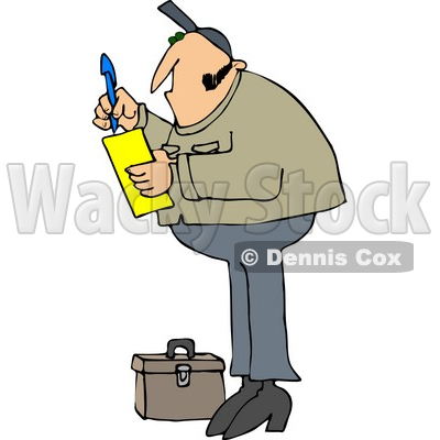 Royalty-Free (RF) Clipart Illustration of a Worker Man Standing By A Tool Box And Writing A Note On A Pad © djart #67131