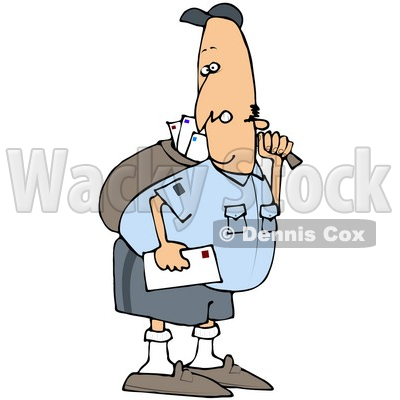Royalty-Free (RF) Clipart Illustration of a Grumpy Mail Man Carrying A Bag © djart #70265