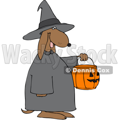 Royalty-Free (RF) Clipart Illustration of a Witch Doggy Holding A Pumpkin Basket © djart #70842
