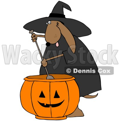 Royalty-Free (RF) Clipart Illustration of a Brown Halloween Witch Dog With A Pumpkin Cauldron © Dennis Cox #71110