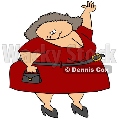 Royalty-Free (RF) Clipart Illustration of a Plump Caucasian Woman In A Red Dress, Carrying A Purse And Waving © djart #72985
