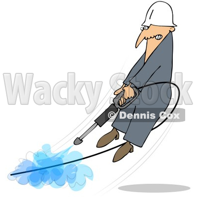 Royalty-Free (RF) Clipart Illustration of a Man Being Blown Off Of His Feet By A Powerful Pressure Washer Hose © djart #76427