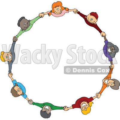 Circle of diverse happy cartoon children holding hands and looking up