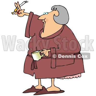 Royalty-Free (RF) Clipart Illustration of a Senior Woman Smoking A Cigarette And Drinking Coffee In A Robe © djart #77680