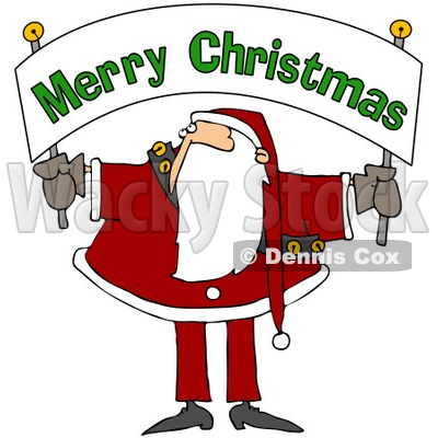 Royalty-Free (RF) Clipart Illustration of Santa Holding And Looking Up At A Merry Christmas Banner © djart #78918