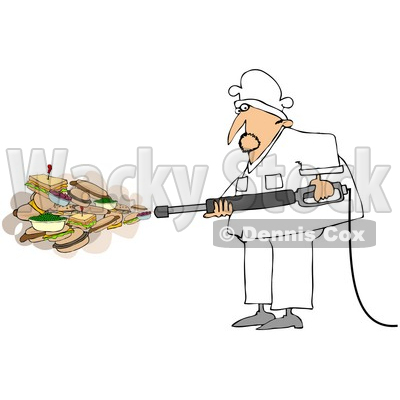 Royalty-Free (RF) Clipart Illustration of a Chef Spraying Sandwiches And Foods Out Of A Pressure Washer © djart #78921