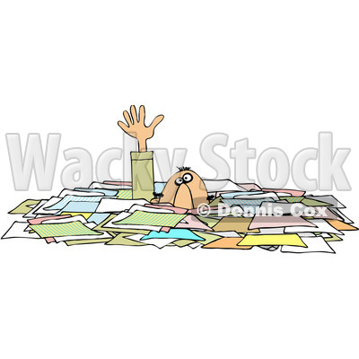 Royalty-Free (RF) Clipart Illustration of a Caucasian Businessman Reaching Up While Drowning In Paperwork © djart #81526
