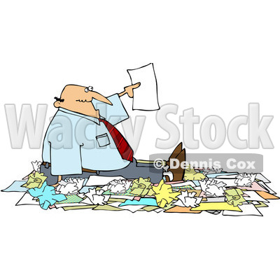 Royalty-Free (RF) Clipart Illustration of a Caucasian Businessman Holding Up A Page While Surrounded By Paperwork © djart #81528