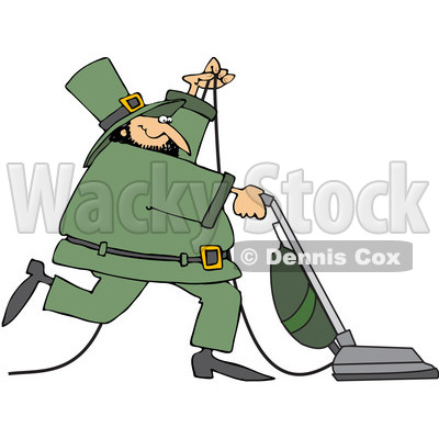 Royalty-Free (RF) Clipart Illustration of a Happy Leprechaun Vacuuming And Wearing A Green Suit © djart #82623