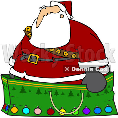 Royalty-Free (RF) Clipart Illustration of Santa Wearing A Stash Of Jingle Bells And Standing In A Giant Green Christmas Gift Bag © djart #82624