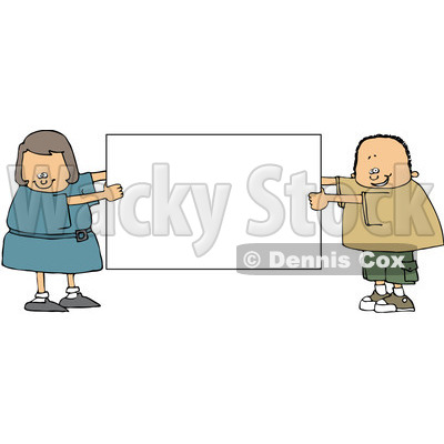 Royalty-Free (RF) Clipart Illustration of a Chubby Boy And Girl Holding A Blank White Sign © djart #83478