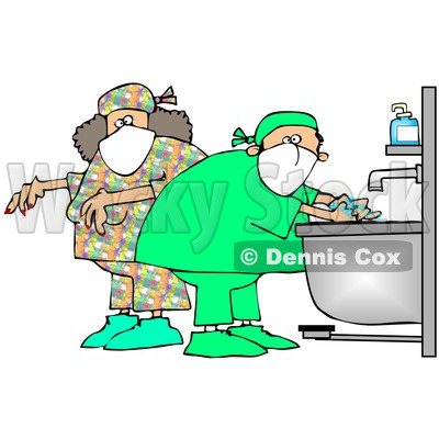 Royalty-Free (RF) Clipart Illustration of Male And Female Surgeons Washing Their Hands And Preparing For A Procedure © djart #83479