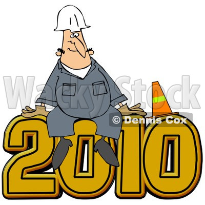 Royalty-Free (RF) Clipart Illustration of a Worker Man Sitting With A Cone On Top Of 2012 © djart #83892