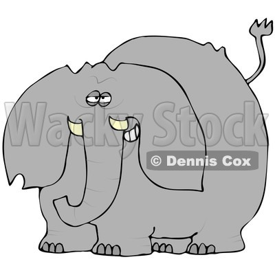 Royalty-Free (RF) Clipart Illustration of a Gray Elephant Smiling © djart #83896
