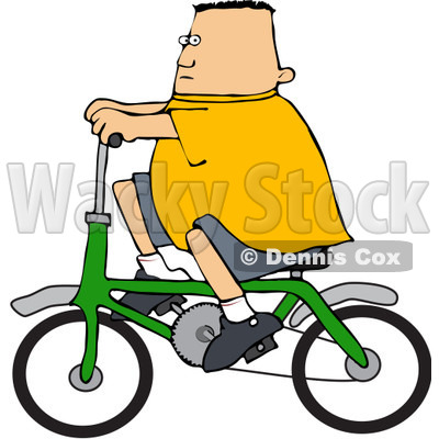 Royalty-Free (RF) Clipart Illustration of a Chubby Caucasian Boy Riding A Green Bicycle © djart #83901