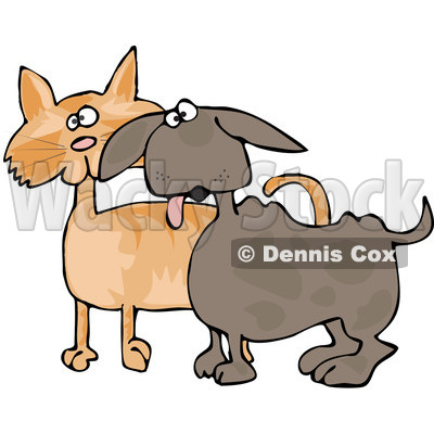 Royalty-Free (RF) Clipart Illustration of a Small Dog Panting And Standing Alert With An Orange Cat © djart #83902