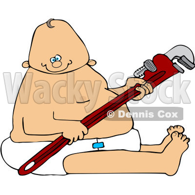 Royalty-Free (RF) Clipart Illustration of a Caucasian Baby Plumber Holding A Wrench And Sitting In A Diaper © djart #83903
