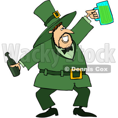 Royalty-Free (RF) Clipart Illustration of a Jolly Leprechaun Holding A Beer Bottle And Mug © djart #84482