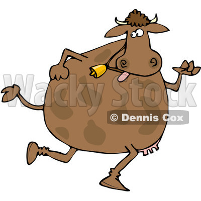 Royalty-Free (RF) Clipart Illustration of a Brown Cow Wearing A Bell And Running On Its Hind Legs © djart #84890