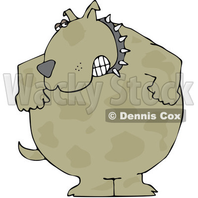Royalty-Free (RF) Clipart Illustration of an Aggressive Brown Dog Wearing A Spiked Collar And Gritting His Teeth © djart #84891
