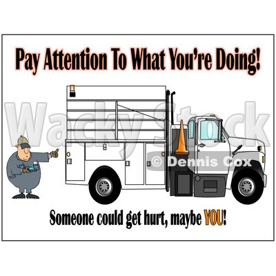 Royalty-Free (RF) Clipart Illustration of a Distracted Worker Man Text Messaging On His Cell Phone While Directing A Utility Truck To Back Up © djart #85054