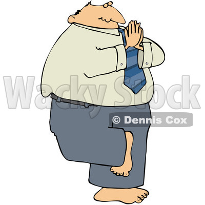 Royalty-Free (RF) Clipart Illustration of a Caucasian Businessman Balancing On One Leg And Meditating © djart #86486