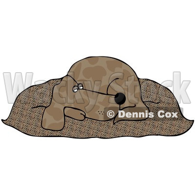 Royalty-Free (RF) Clipart Illustration of a Tired Brown Pooch Resting On A Fluffy Dog Pillow © djart #86871