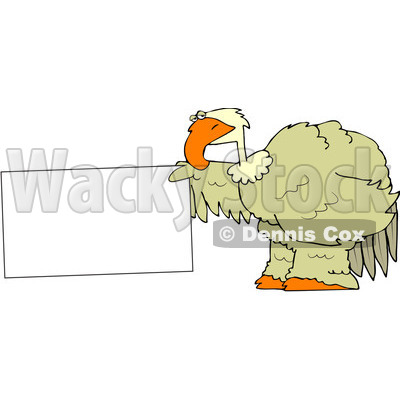 Royalty-Free (RF) Clipart Illustration of a Big Bird Holding Out A Blank Sign © djart #88334