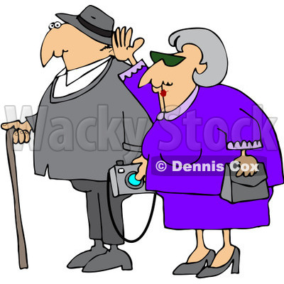 Royalty-Free (RF) Clipart Illustration of a Senior Woman Waving And Walking By Her Husband Who Is Carrying A Camera And Using A Cane © djart #88342