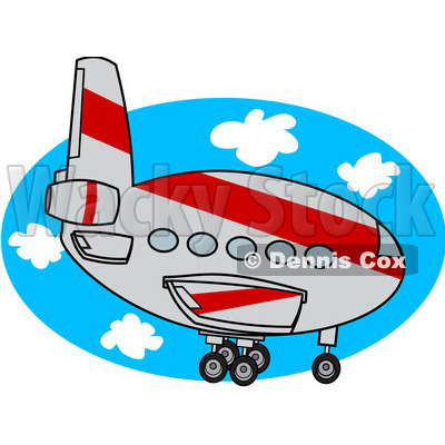 Royalty-Free (RF) Clipart Illustration of a Gray And Red Commercial Airliner Descending © djart #92105
