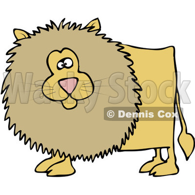 Royalty-Free (RF) Clipart Illustration of a Chubby Male Lion With A Beige Mane © djart #92113