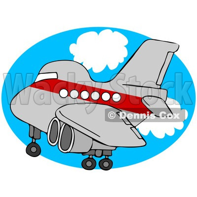 Royalty-Free (RF) Clipart Illustration of a Red And Gray Airplane Over An Oval Of Blue Sky With Clouds © djart #93117