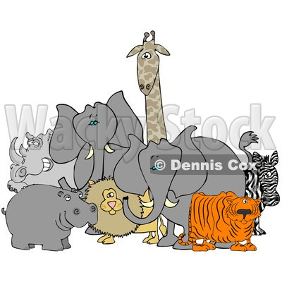 Royalty-Free (RF) Clipart Illustration of Two African Elephants With A Tiger, Zebra, Lion, Hippo, Rhino And Giraffe © djart #93760