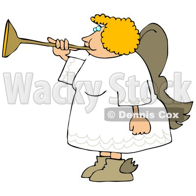 Female Blond Angel Playing a Horn Clipart Illustration © djart #9403