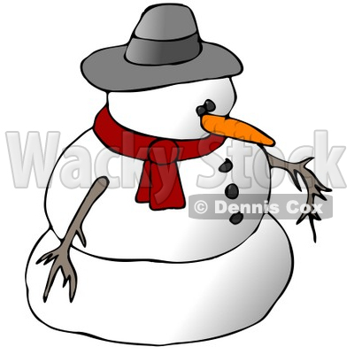 Snowman Wearing a Scarf and Hat Clipart Illustration © djart #9406
